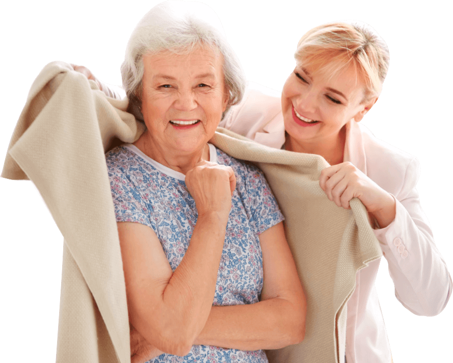 elderly woman and staff smiling