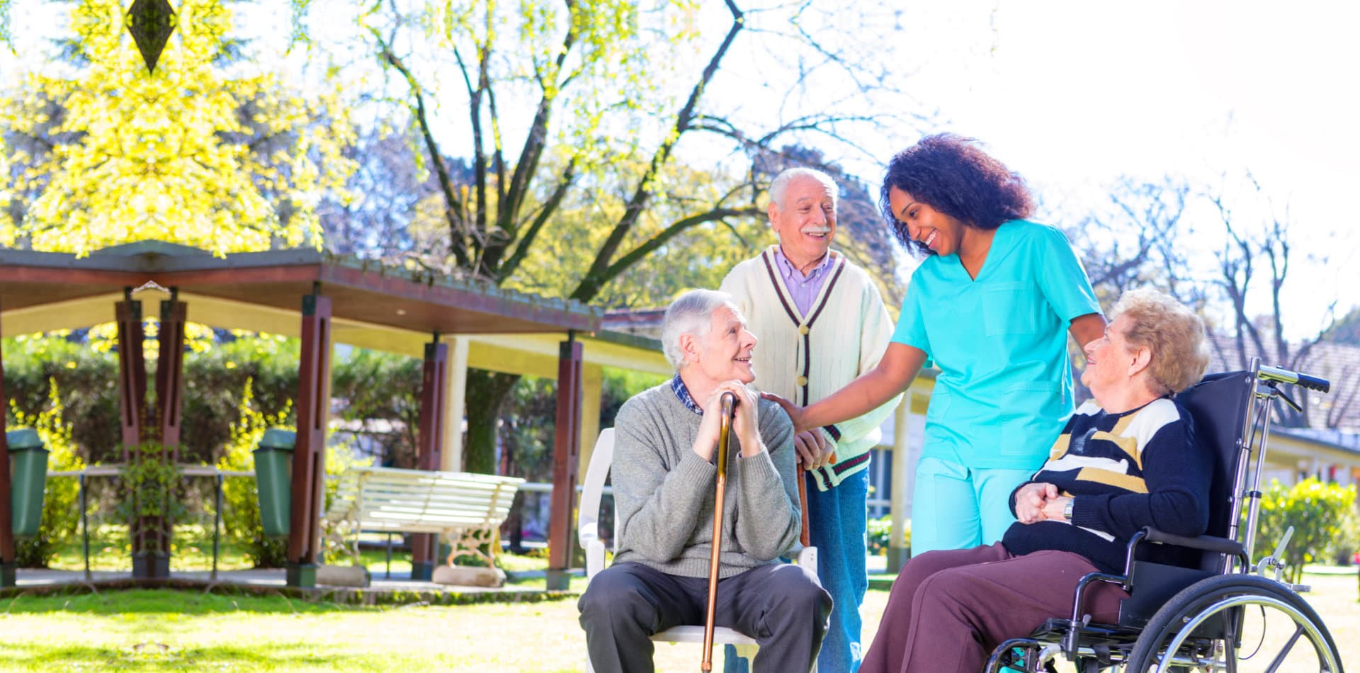 elderly people and staff
