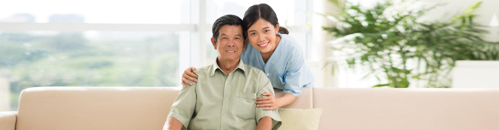 staff and elderly man